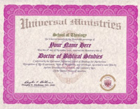 Biblical Religious Doctorate Degree