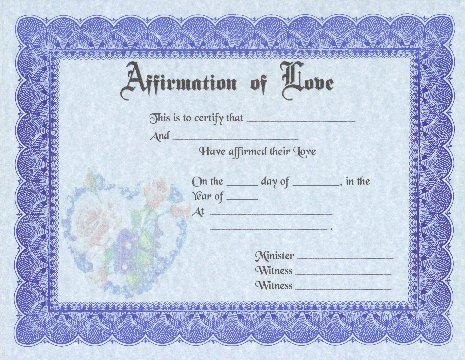 Fancy Affirmation of Love Certificates